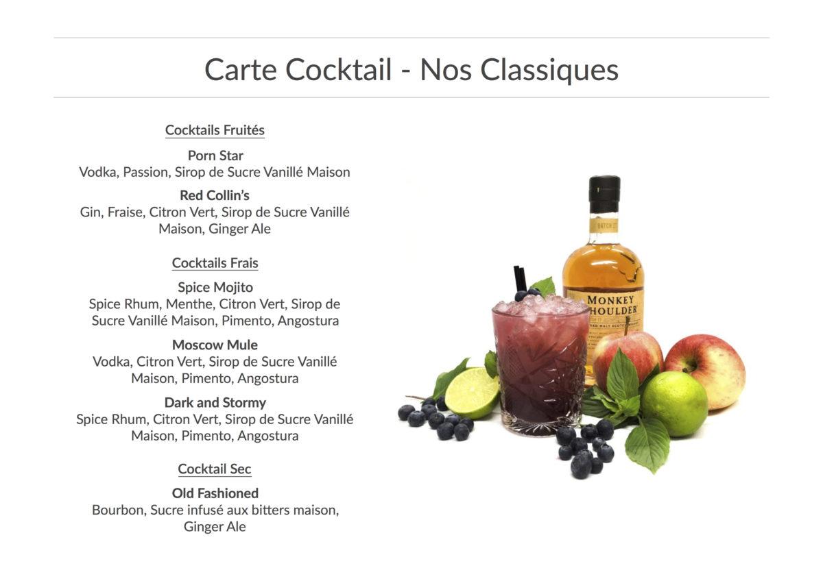Carte Cocktails Classique